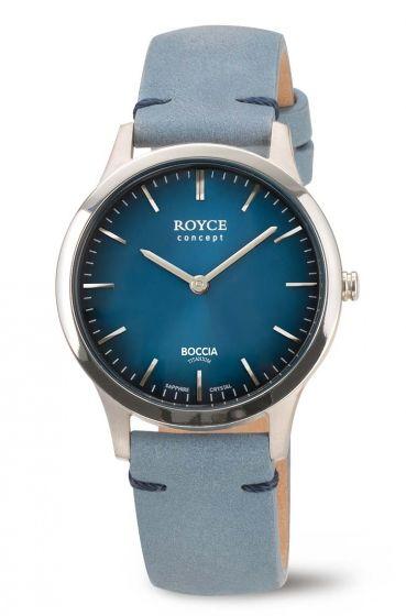 Boccia Royce 3320-01 Damenuhr aus Titan, blau, mit ultrakratzfestem Saphirglas, Lederuhrband